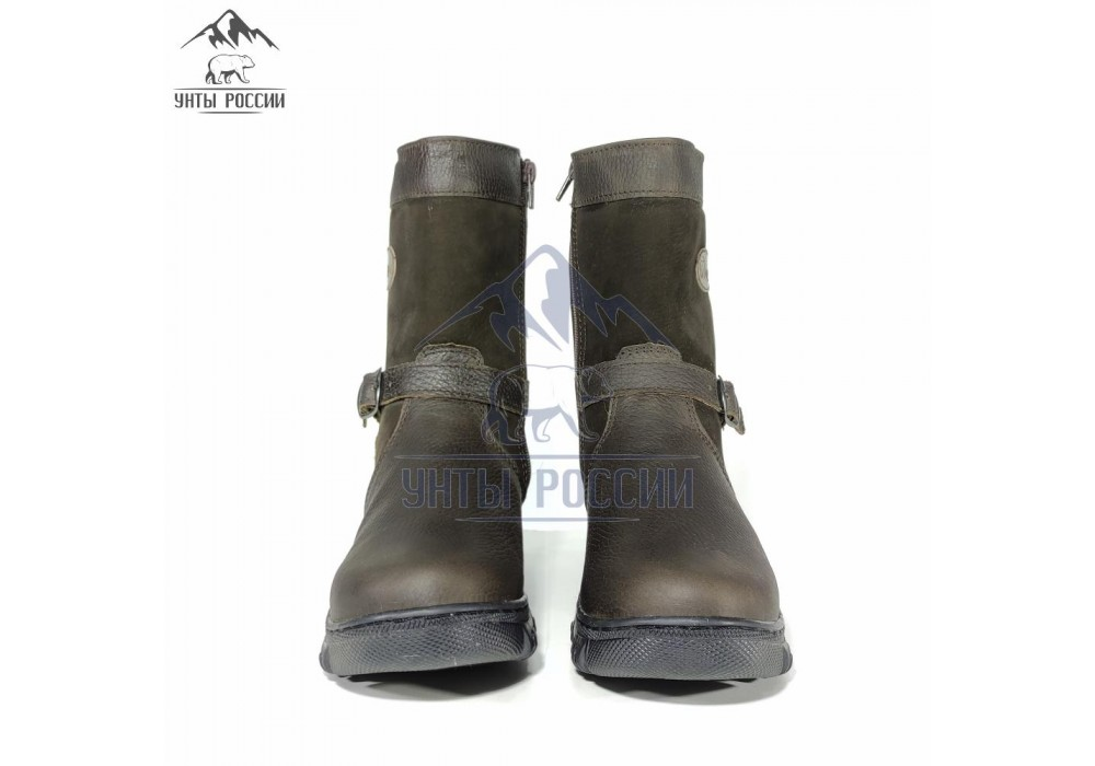 Монголки детские натуральные коричневые, литая подошва