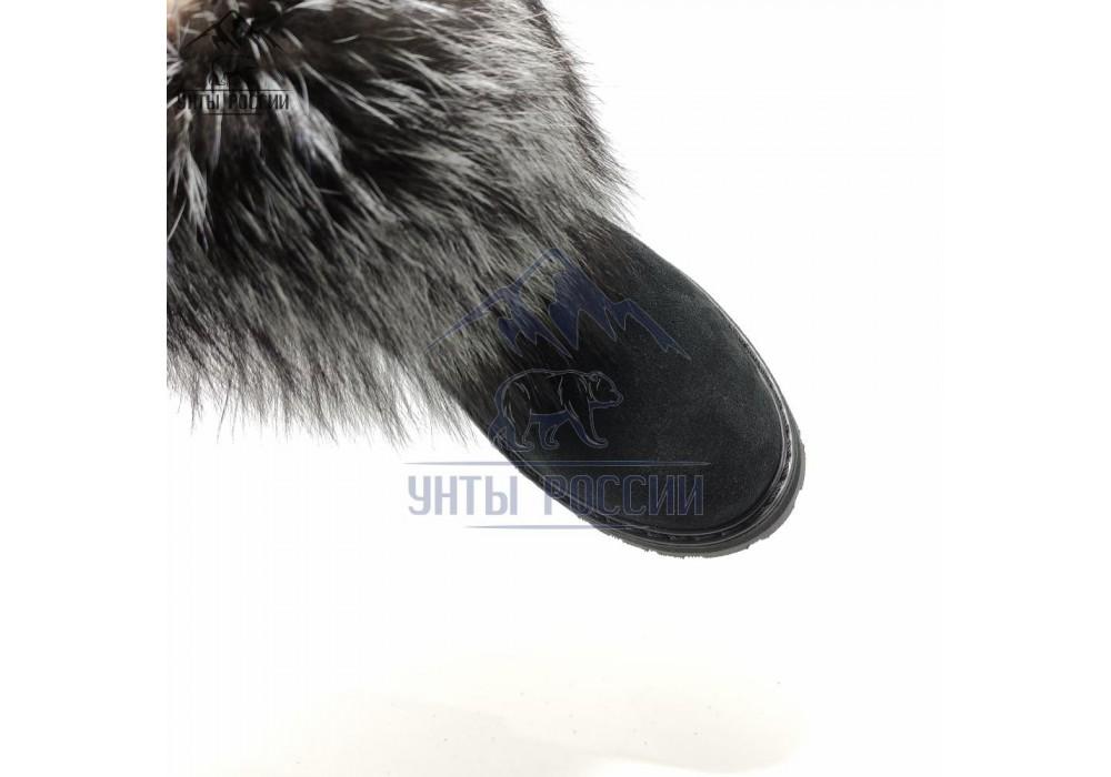 Унты женские короткие черные, натуральная чернобурка, резиновая подошва