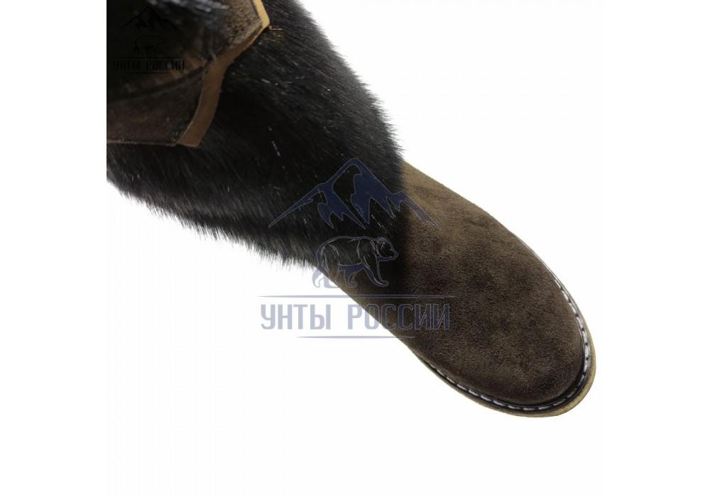 Унты женские натуральные темно-коричневые, войлочная подошва