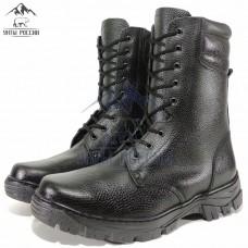 Берцы зимние натуральные черные кожаные с мехом, литая подошва