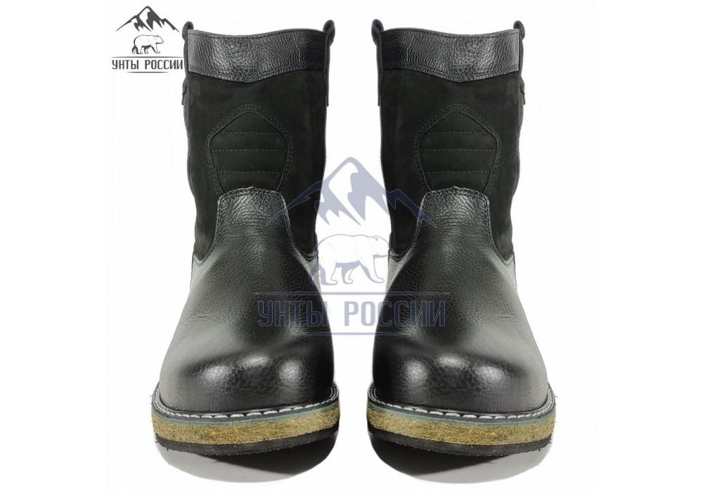 Монголки мужские натуральные короткие черные, войлочная подошва