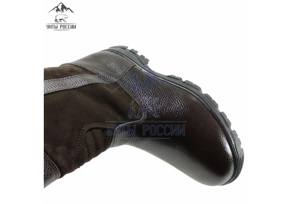 Монголки мужские натуральные короткие коричневые, литая подошва