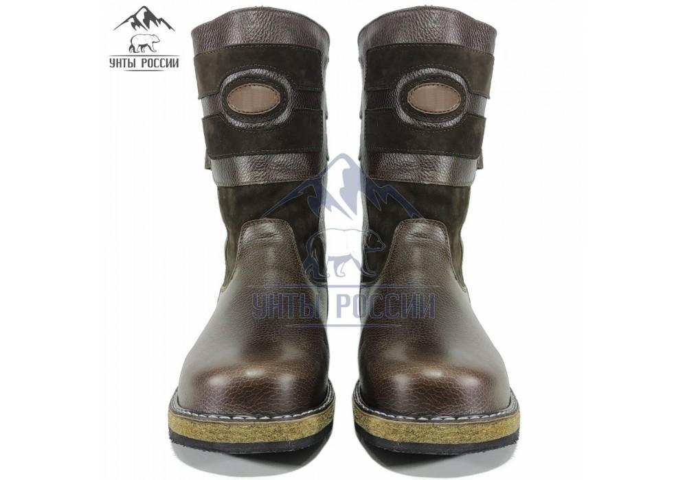 Монголки мужские натуральные короткие коричневые, войлочная подошва