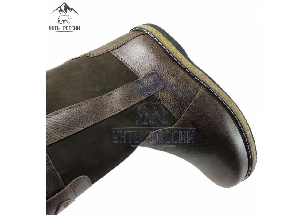 Монголки мужские натуральные высокие коричневые, войлочная подошва