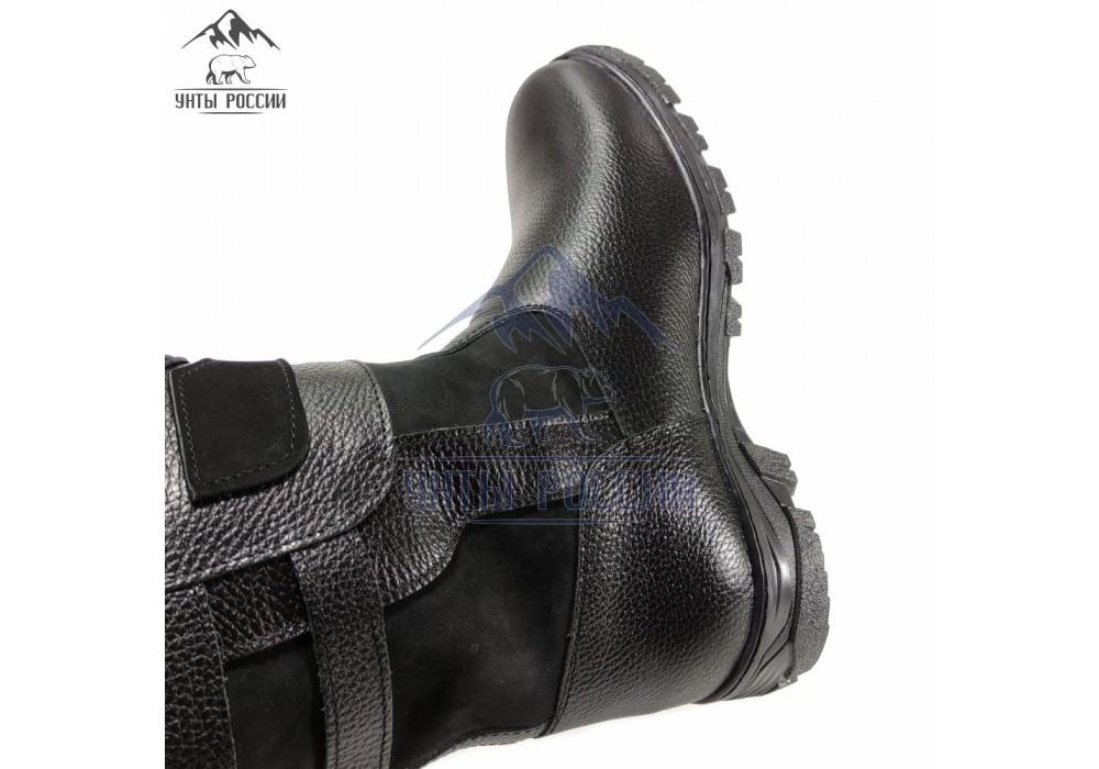 Монголки мужские натуральные короткие черные, литая подошва
