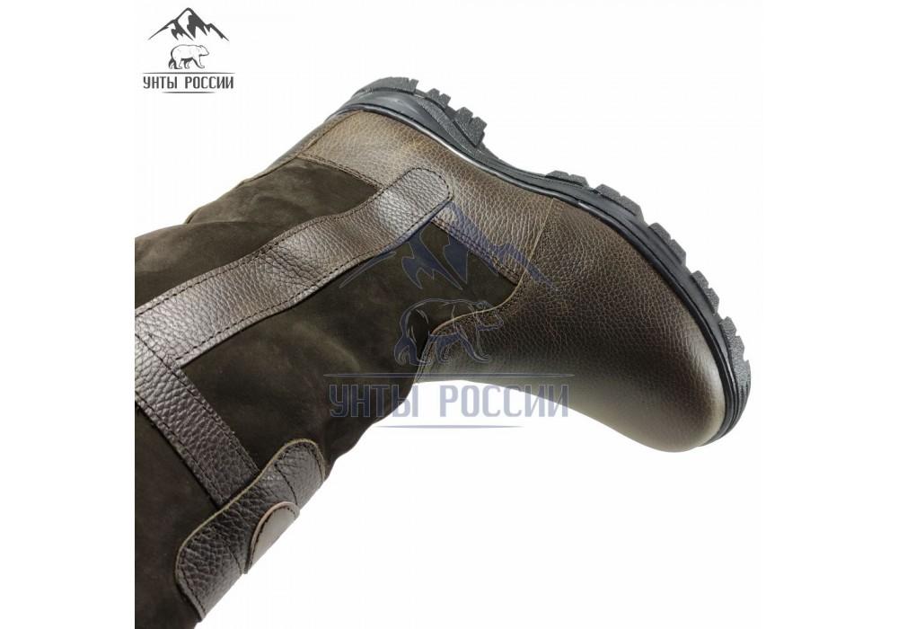 Монголки мужские натуральные высокие коричневые, литая подошва