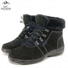 Ботинки женские натуральные короткие черные на шнуровке, литая подошва