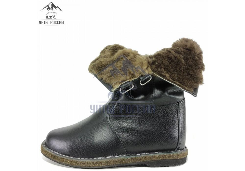 Монголки мужские натуральные черные на липучках, войлочная подошва